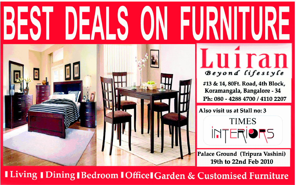 Luiran get the best deals on furniture bangalore for Best place for furniture deals