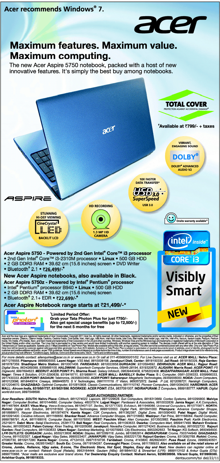 acer recommends windows vista Acer recommends windows vista® business acer business buyers guide july 2009 hurry offer valid till 31/07/2009 intel.