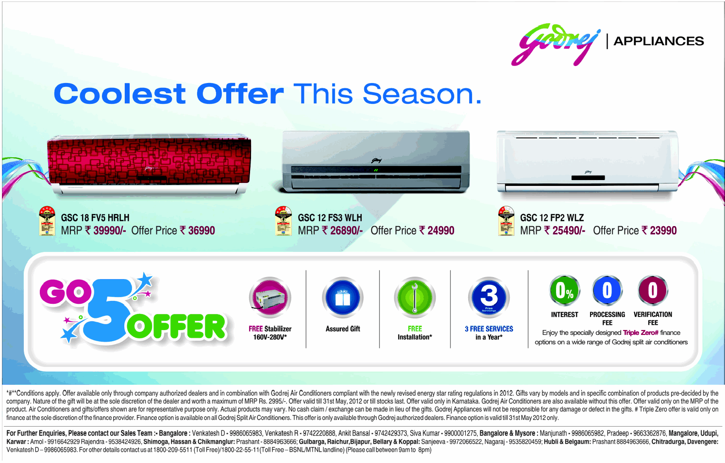 godrej air conditioners - go 5 offers / bangalore | saleraja