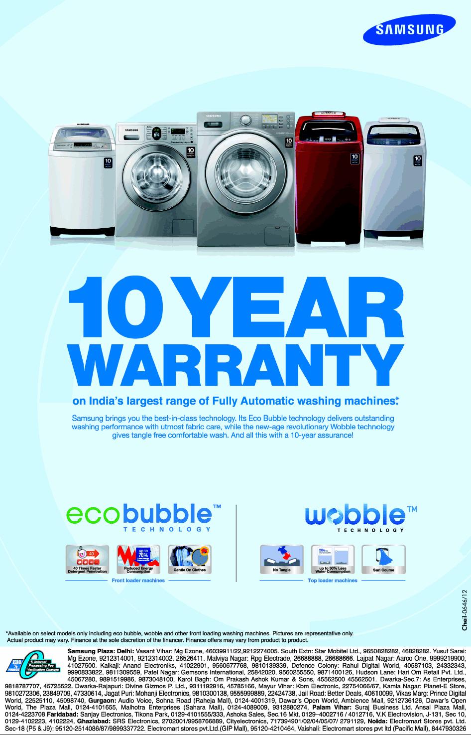samsung warranty samsung washing machines 10 years warranty mumbai new delhi bangalore saleraja