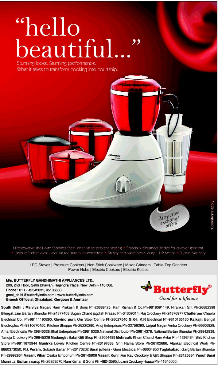 Butterfly Kitchen Appliances Butterfly Mixer Grinder Attractive Exchange Offer New Delhi