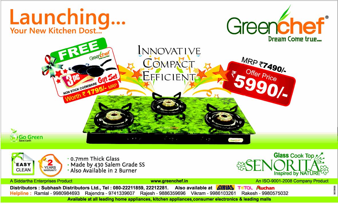 Green Chef Gas Stove - Free Gift Set