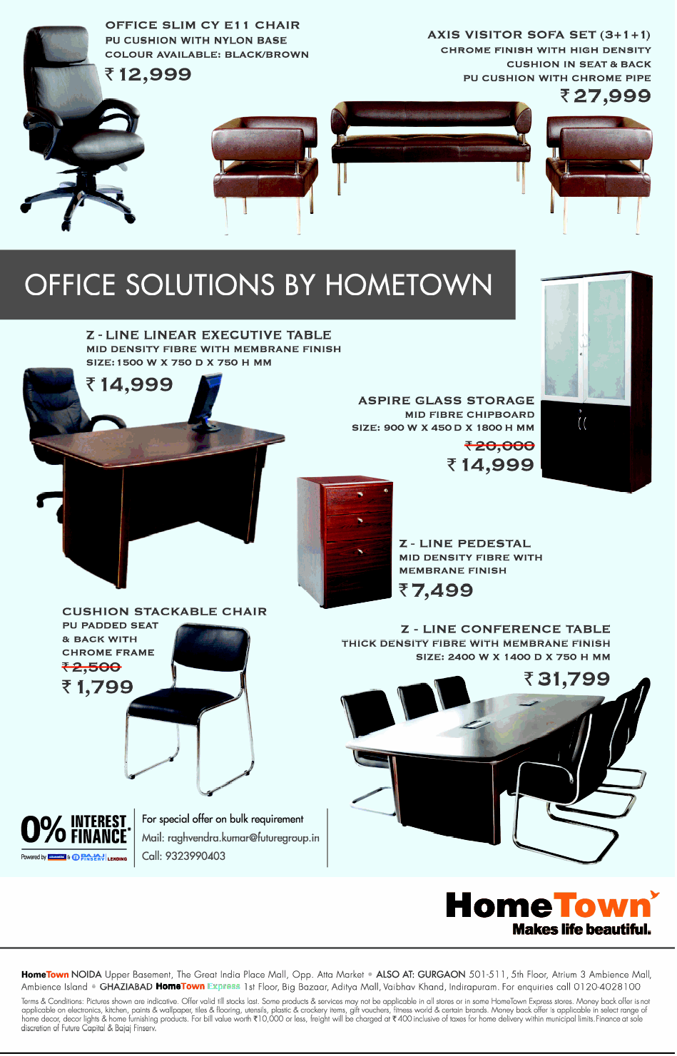 Home town office furniture 0 interest finance mumbai for Furniture 0 interest financing