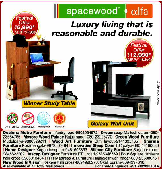 Spacewood Furniture   Festival Offer. Spacewood Furniture   Festival Offer   Bangalore   SaleRaja