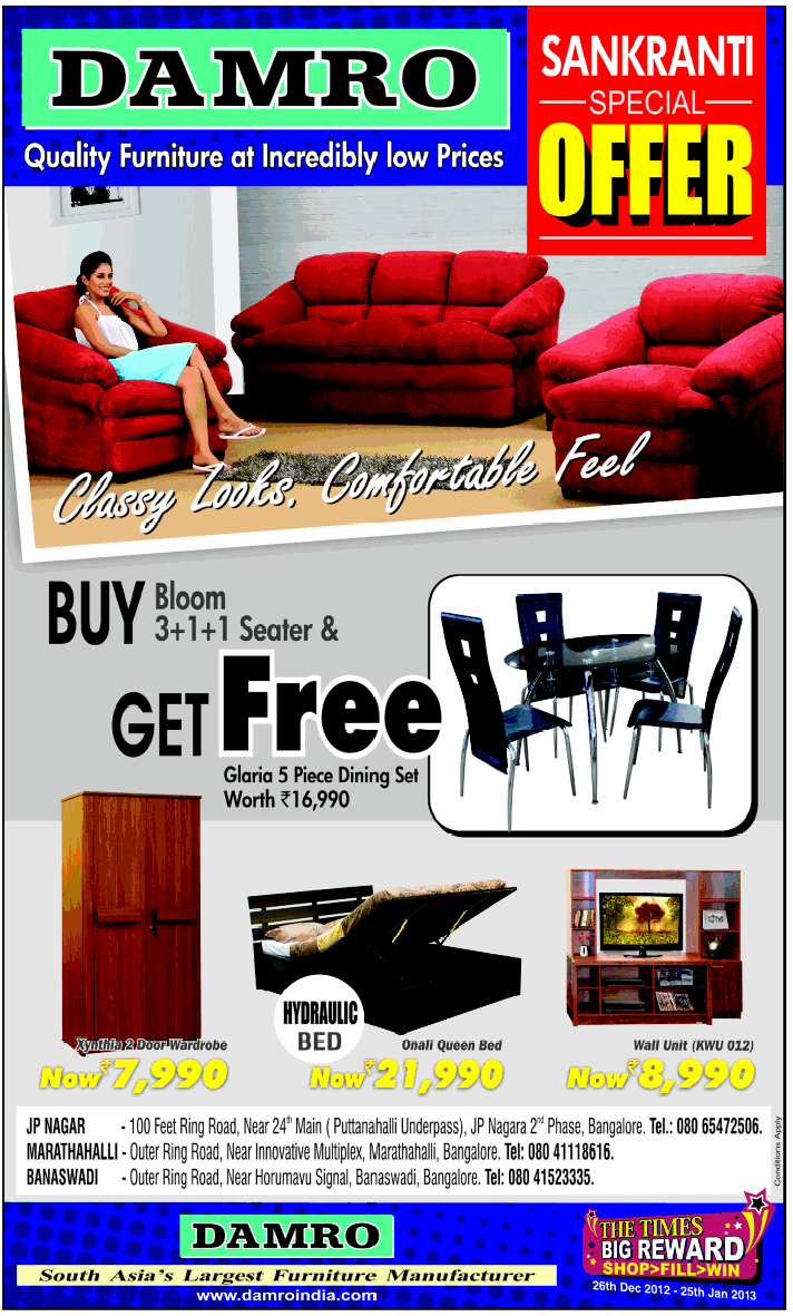 Damro Furniture Prices http://saleraja.com/bangalore/damro-new-year ...