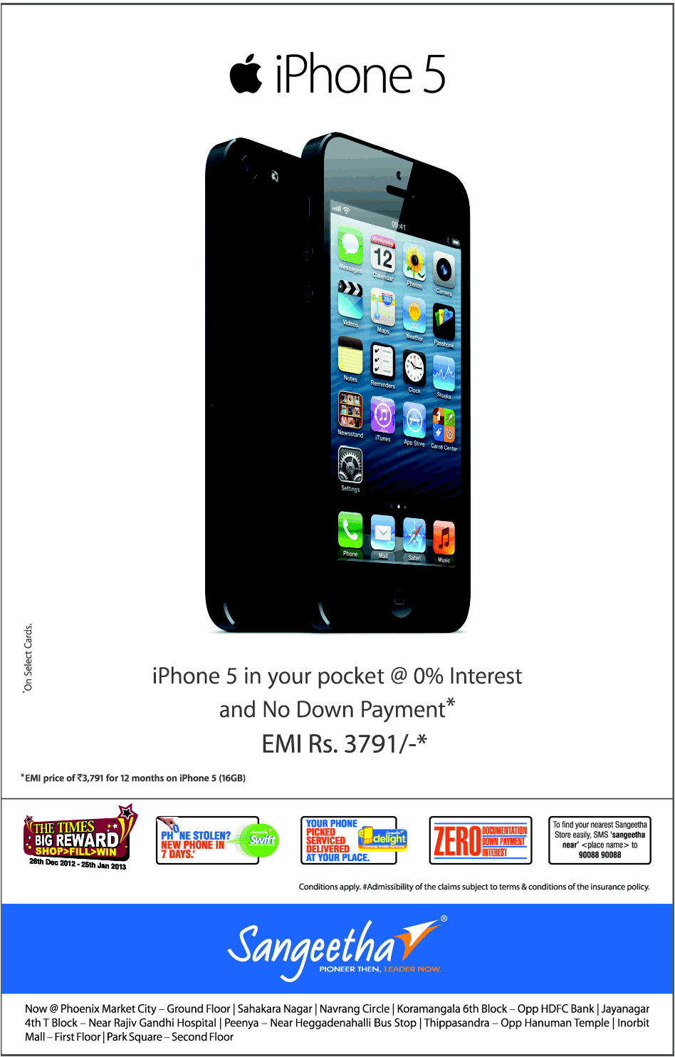 Sangeetha - Offers on Apple iphone 5
