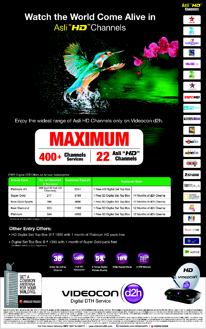 Videocon d2h discount coupons