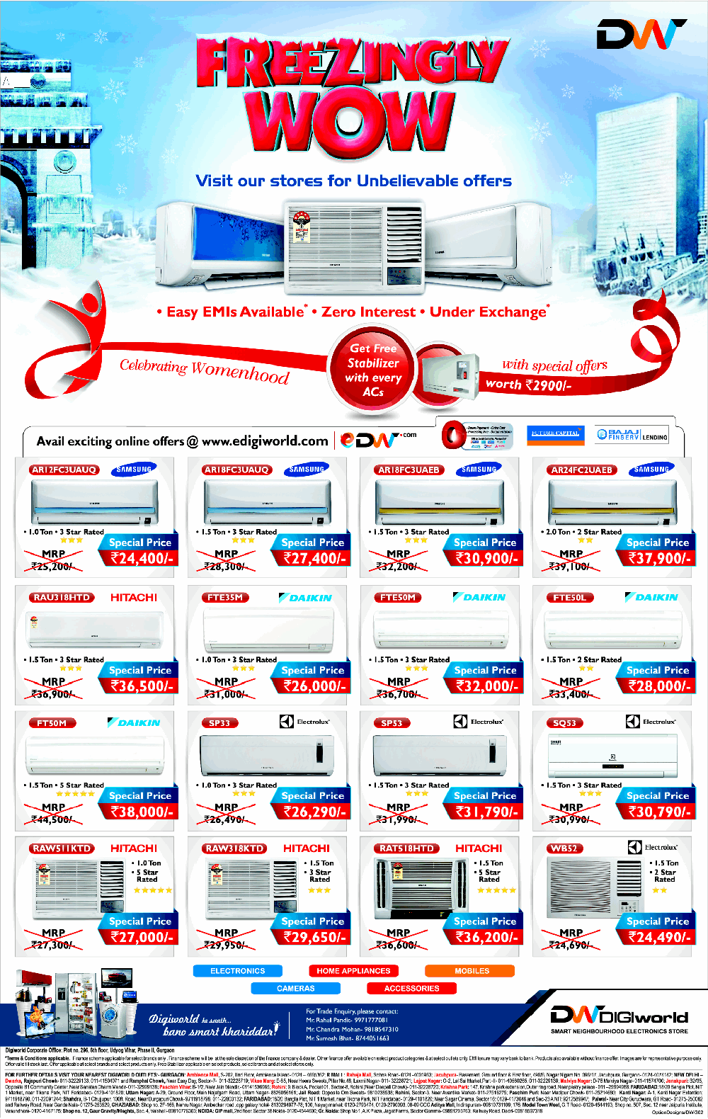 digiworld - offers on air conditioners / new delhi | saleraja