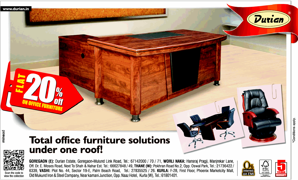 Durian Office Furniture   Flat 20% Off