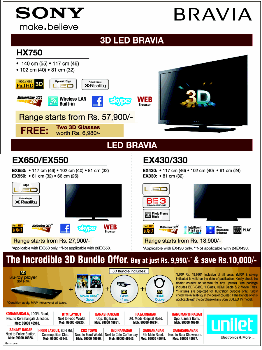 Unilet - Offers on Sony Bravia