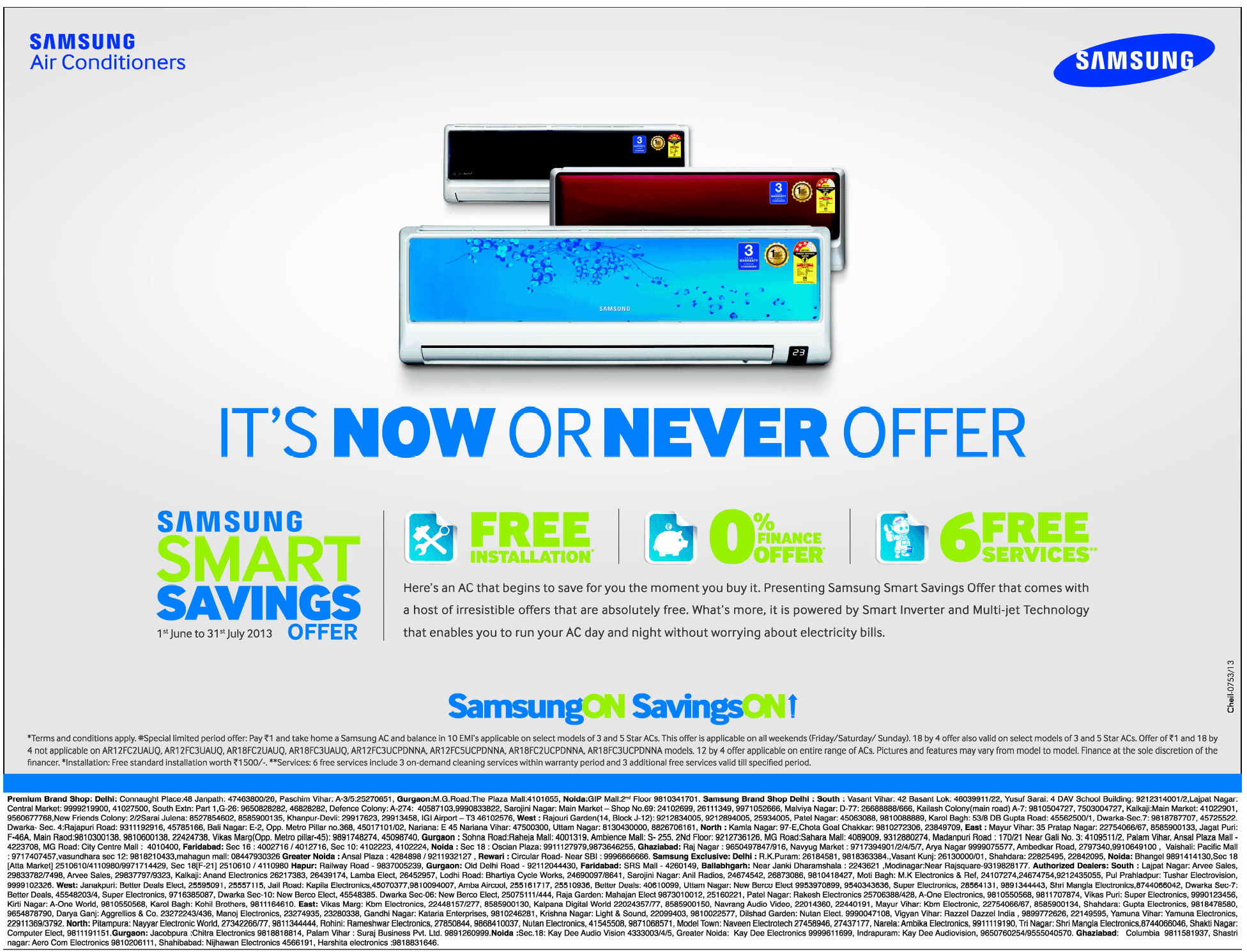 samsung air conditioners - now or never offer / mumbai, new delhi