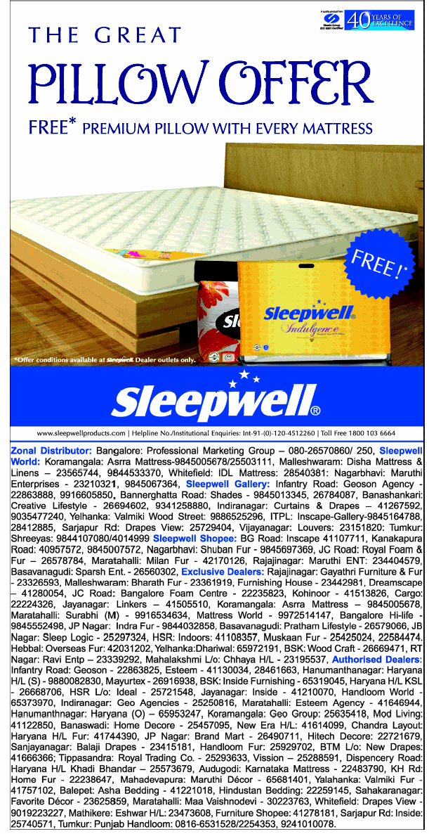 Sleepwell - Great Pillow Offer