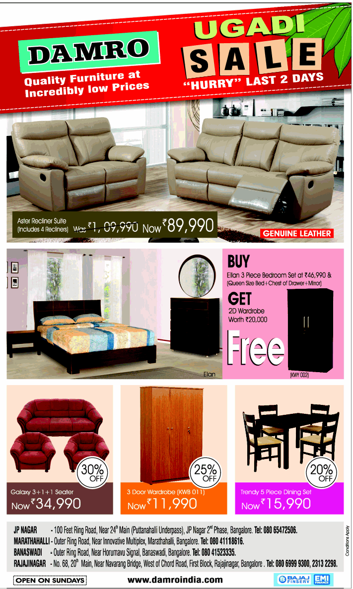 Damro Furniture  - Ugadi Sale
