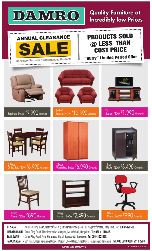 Damro Furniture  - Annual Clearance  Sale