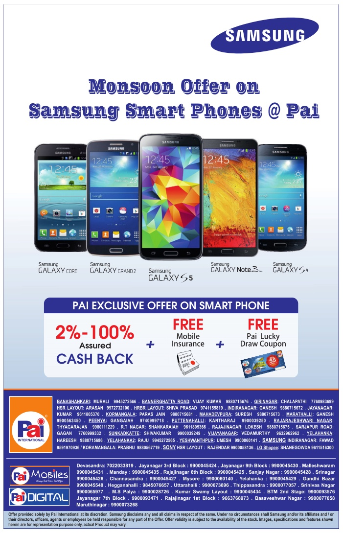 Pai International Electonics - Offers on Samsung Smart Phones