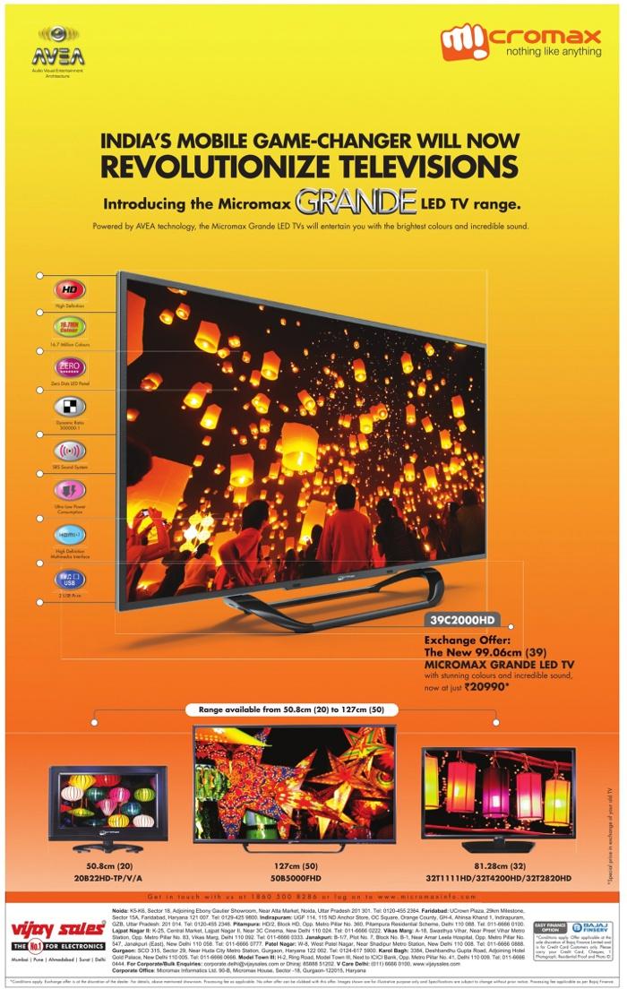 micromax grand led tv exchange offer mumbai new delhi. Black Bedroom Furniture Sets. Home Design Ideas