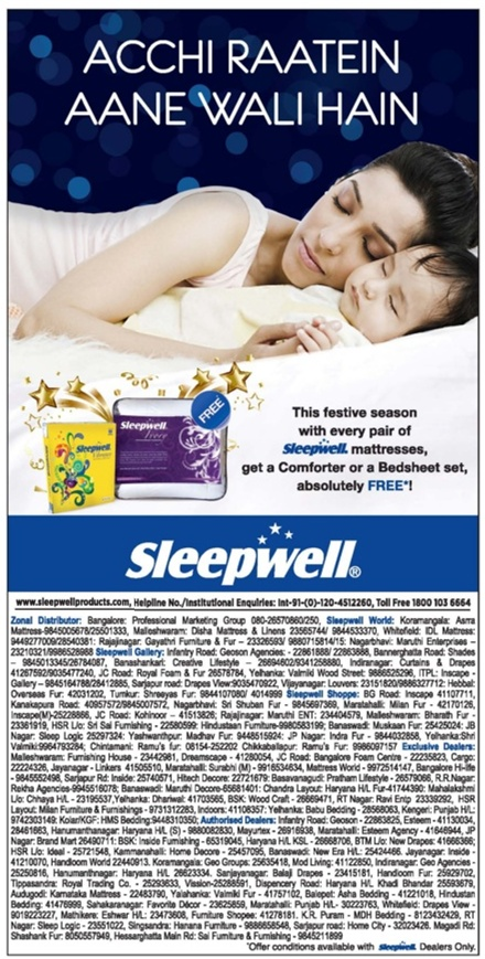 Sleepwell Mattresses - Comforter or Bedsheet Free Offer