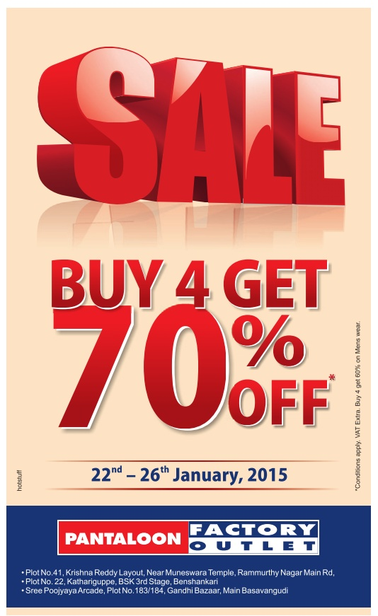 Pantaloon Factory Outlet - Flat 70% Off