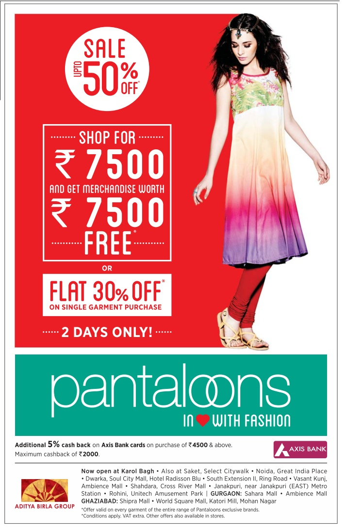 Pantaloons - Upto 50% Off