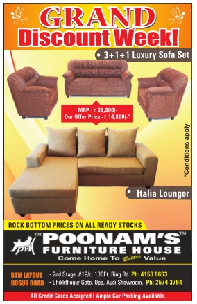Poonams Furniture House - Rock Bottom Prices  Bangalore  SaleRaja
