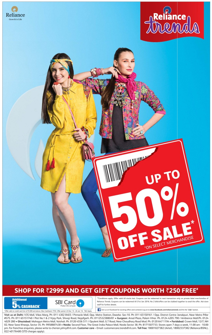 Reliance Trends - Upto 50% Off