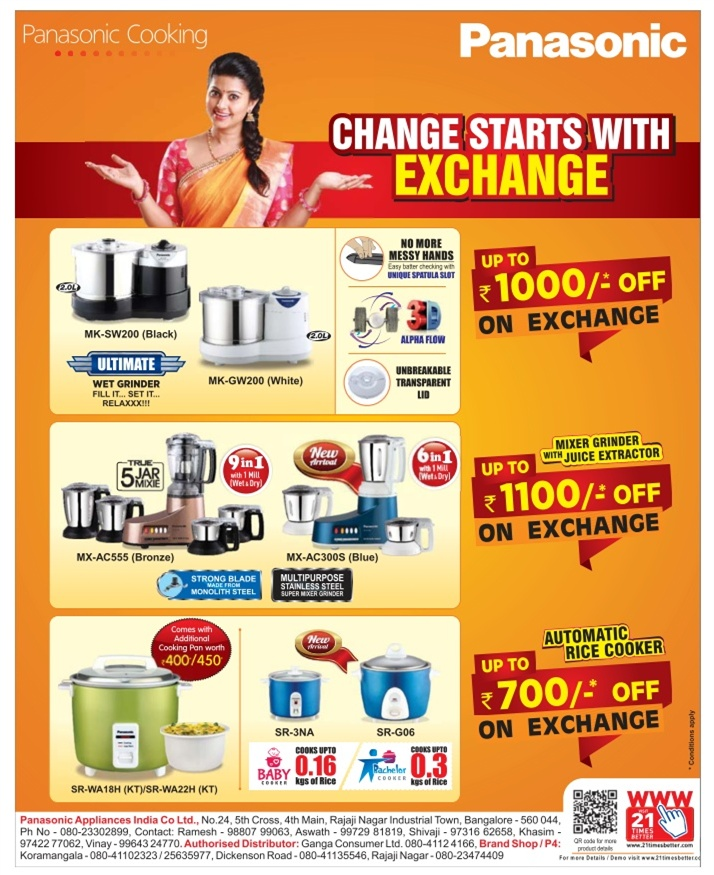 Panasonic Kitchen Appliances - Exchange Offer / Bangalore | SaleRaja
