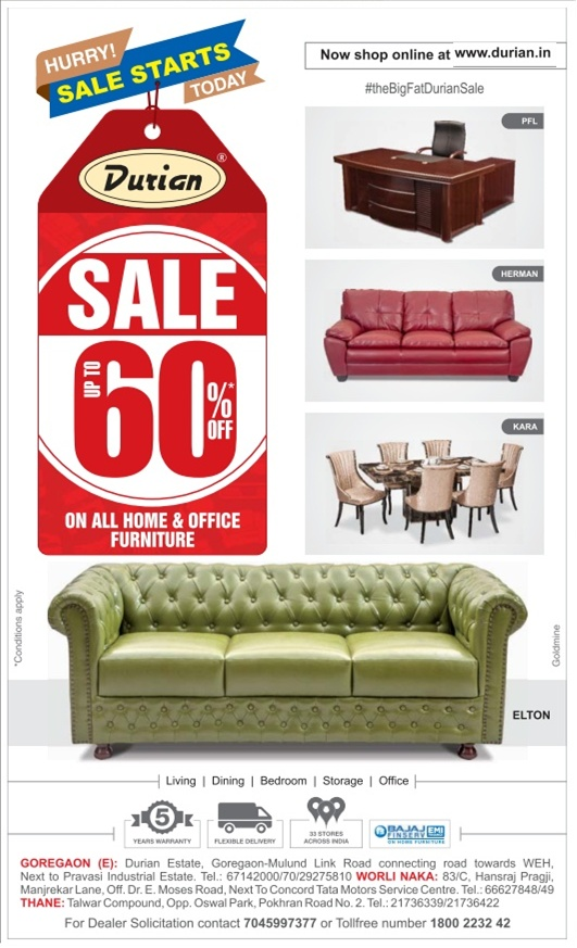 Durian Furniture - Upto 60% Off