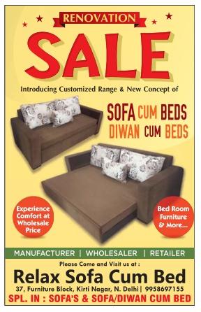 Relaxo Sofa Cum Bed Sale New Delhi Saleraja