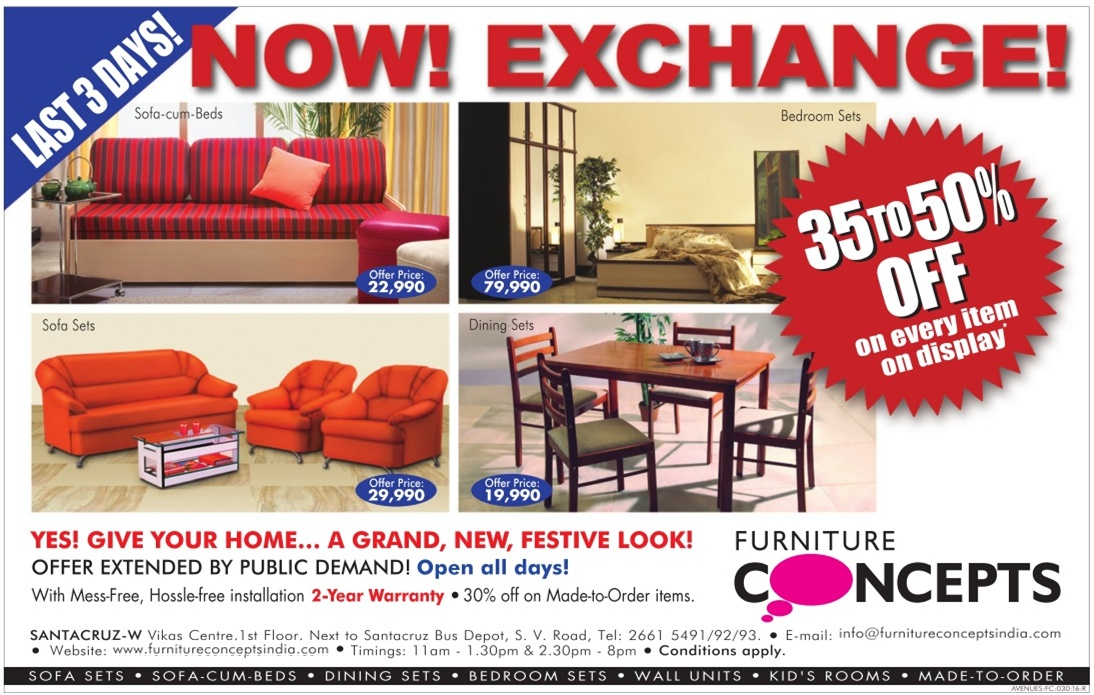 Furniture Concepts   35 To 50% Off