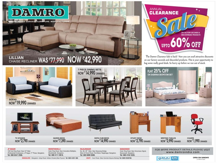 Damro Furniture Incredible Low Prices Bangalore Saleraja