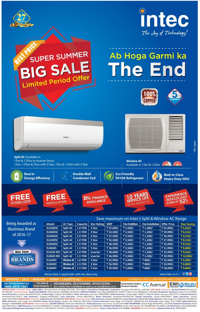 Intec Air Conditioners - Sale