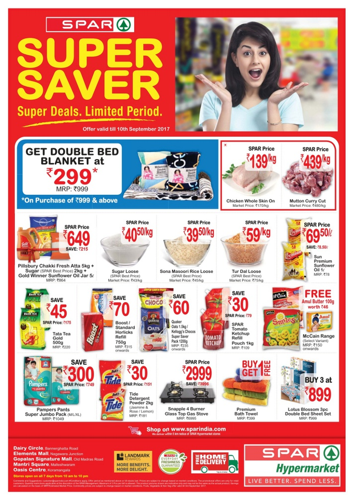 Spar Hypermarket Best Deals On Monthly Shopping Bangalore Saleraja