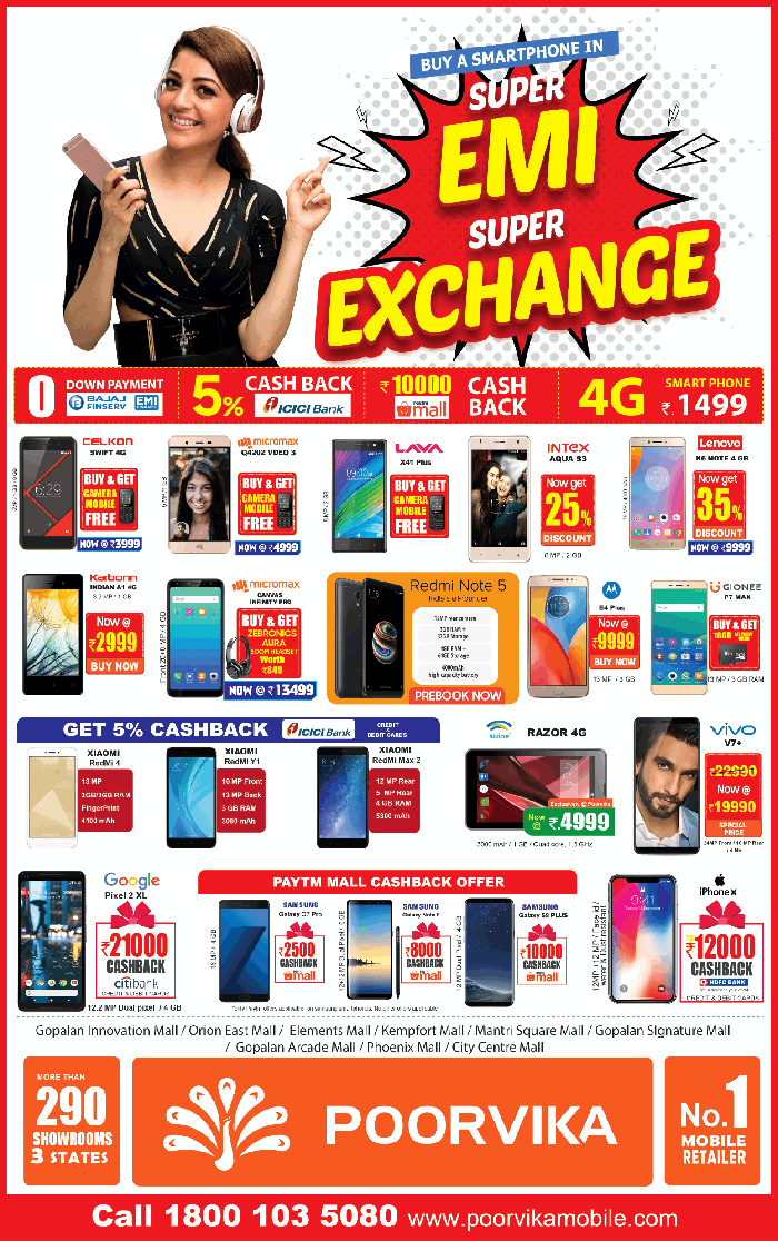 Poorvika Mobile World  - Offers on SmartPhones