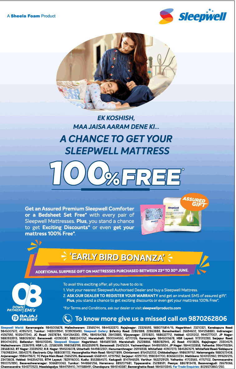 Sleepwell Mattresses - Assured Premium Gift Free*