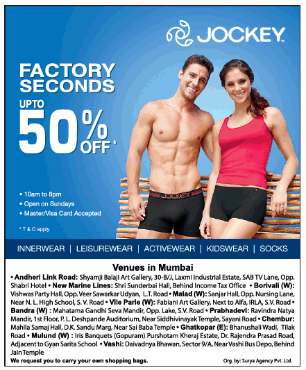 Jockey Factory Seconds - Upto 50% Off